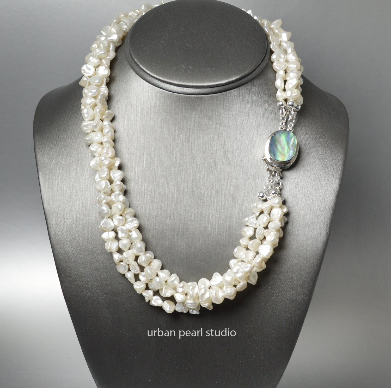 Keshi Pearl Necklace: Multi Strand Pearl Necklace Keshi Pearl Necklace Abalone
