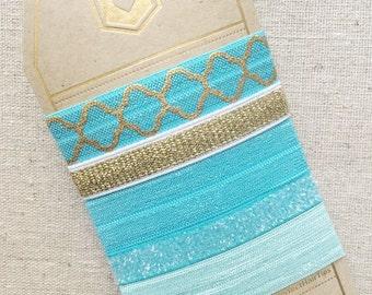 Cool Ocean Mosaic- Gift Set of 5 Elastic Hair Ties