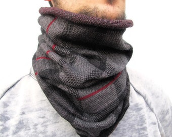 Knitted Infinity Scarf Upcycled man scarf Upcycled neckwarmer Upcycled Accessories man scarf cowl scarf cowl Upcycled Black grey Scarf