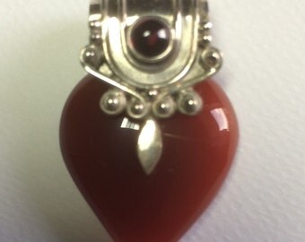 Vintage carnelian, garnet and silver heart pendant