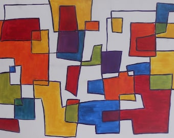 Vintage Modern Art Abstract Acrylic Oil Painting Colorful Design