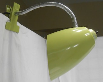 Vintage Clamp On Gooseneck Adjustable Light Reading Overhead Avocado Green MCM Style Lamp
