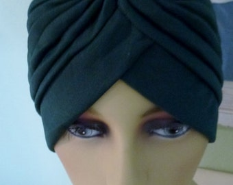 Dressey Chemo Black Turban Head Wrap with Large Decorative Pin,  Dressy Black Alpocia Turban