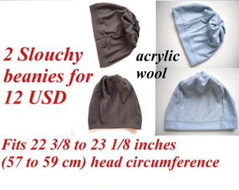 clearance sale, set of 2 wool slouchy beanies for adult or children, fit 22 3/8 - 23 1/8 inches (57 - 59 cm) head circumference