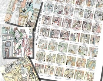 Jane Austen's Printables, ONE INCH SQUARES (25 mm), 42 Illustrations From All Six Novels Included