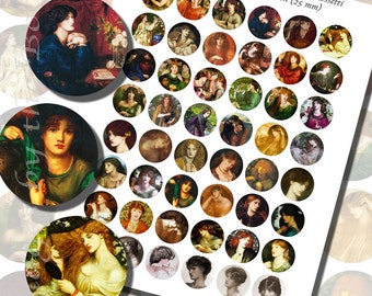 Dante Gabriel Rossetti's Victorian Beauties Printables, ONE INCH CIRCLES (25 mm), 48 Paintings Included