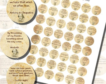 Shakespearean Quotes Printables, ONE INCH CIRCLES (25 mm), with 1/2 inch (13mm) and 3/4 inch (20mm) circles also included