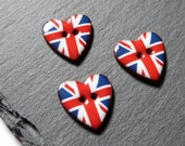 Set Of 3 Small Ceramic Heart Buttons With Union Jack Pattern