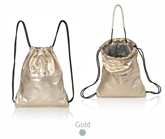 Back bag Gold leather backpack tote multi-way leather bag
