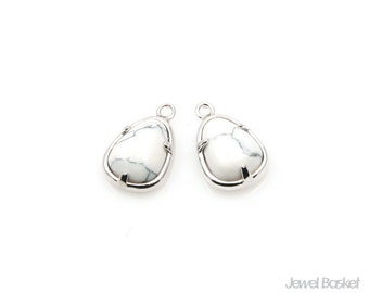 Howlite Teardrop Charm in Rhodium - White Turquoise Stone / 8mm x 12.3mm / SWQS092-P (2pcs)