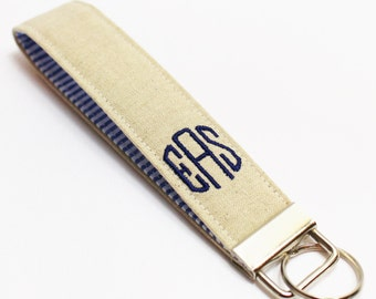 Monogrammed Linen & Seersucker Wristlet or Mini Key Fob in Choice of Colors - Embroidered