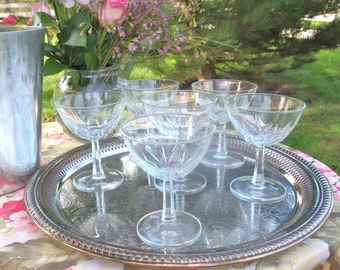 Vintage Saucers French Champagne Coupe Glasses Made in France - Set of 6 | Luminarc-Verdi-D Arques | Wedding Housewarming Gift