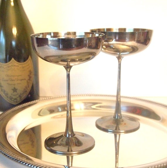 silver champagne coupe glasses saucers el de uberti silver. Black Bedroom Furniture Sets. Home Design Ideas
