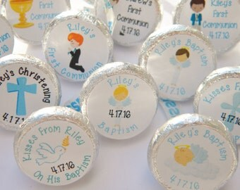 Baptism Favors - Personalized Baptism Hershey Kiss Stickers - Confirmation First Communion  - Hershey Kisses Favors - Hershey Kiss Stickers