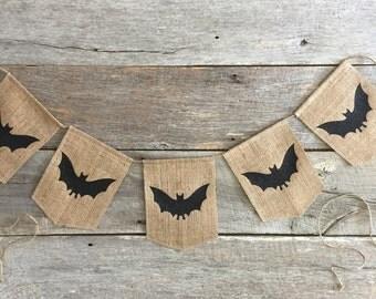 Halloween Banner,Halloween,Bat Banner,Burlapbat banner, Burlap Banner,Glittered Bat Banner,Fall Banner,Door Banner, Wall Banner