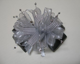 Stunning Over the Top Pewter Gray Silver Boutique Dressy Hair Bow Toddler Glitz Pageant Wedding