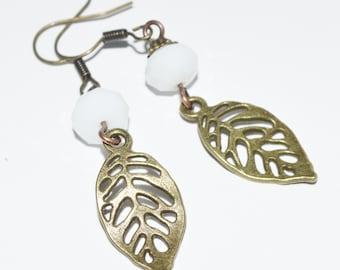Leaf bronze crystal women earrings