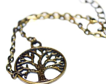 Tree of life charm bronze casual bracelet