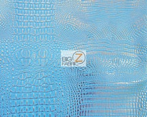 Metallic African Crocodile Embossed Vinyl Fabric - BLUE/SILVER - Sold By The Yard Upholstery 2 Tone Faux Fake Leather