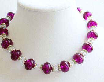 Vintage Purple Beaded Necklace, Choker Style, Costume Jewelry, Circa 1970's