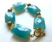 Azure Blue and Mint Green Chalcedony and Cloisonné Bracelet by KarenWhalenDesigns