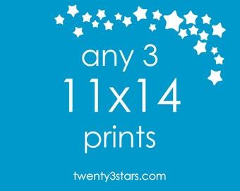 "Any 3 Prints 11x14 - Choose Any twenty3stars Prints at an 11x14"" size"
