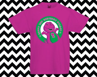 BARNEY & FRIENDS Iron On Transfer Birthday T-Shirt - name customized