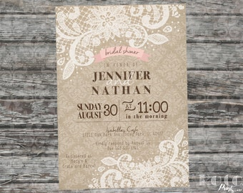 Damask Burlap And Lace Printable Bridal Shower Invitation