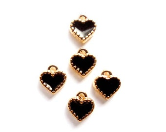 6 Gold Plated Black Enameled Heart Charms - 21-44-9