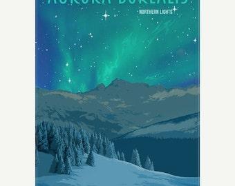 Aurora Borealis Northern Lights Minimalist Wonders Poster