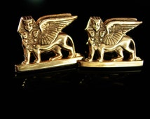 Sigma Pi Phi Cufflinks Griffin cuff links Fraternity Vintage College estate gold plate winged horse
