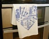 Doctor Who Heart Hand Printed Tea Towel