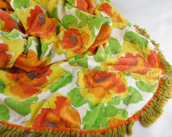 Vintage 70's floral terry cloth tablecloth