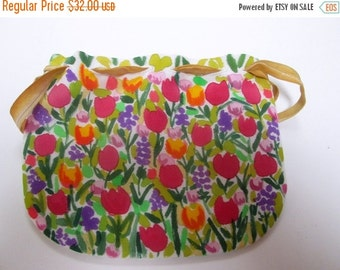 Small silk hand painted Purse women fashion accessory - unique gift woman under 50 - floral flowers tulip purse made in the USA