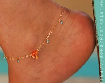 Anklet // Women Anklet // Turquoise Anklets // Women Ankle Bracelet // Gold Anklet // Beach Anklet // Oriental Anklets // Dainty Anklet