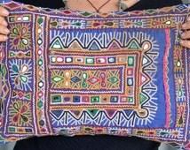 Tribal embroidered cushion Indian Banjara vintage textile cover, Rajasthan, Gujarat, ethnic, Kutch