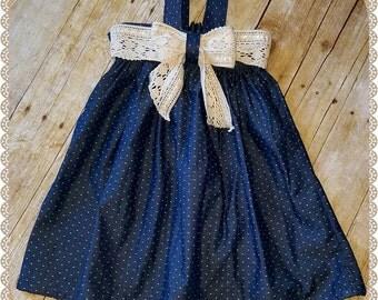 Chambray Denim Dot Dress