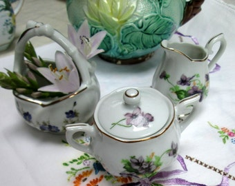 Children's Tea: Creamer, Sugar and Basket, Violets