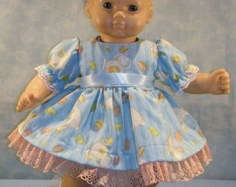 15 Inch Doll Clothes - Easter Eggs and Bunnies on Blue Dress, Bloomers and Headband made by Jane Ellen to fit 15 inch baby dolls