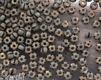6/0 Czech Glass Aged White Black Stripe Seed Beads, 2991, Aged White Black Stripe Czech Glass Seed Bead, 15 Grams
