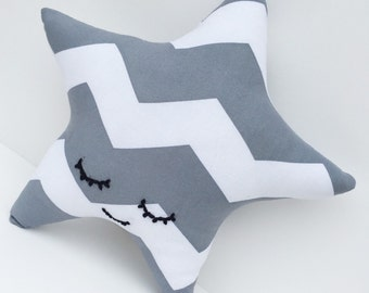 Grey Chevron Sleepy Star Pillow / Cushion - Nursery and Children's Decor
