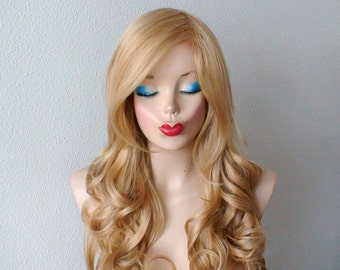 Blonde wig. Lace front wig. Golden blonde Long curly hairstyle long side bangs heat resistant synthetic wig for daytime use or Cosplay