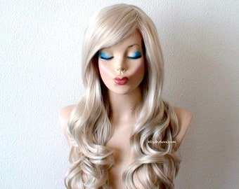 Silver Blonde wig. Long curly hairstyle quality wig for daytime use or Cosplay