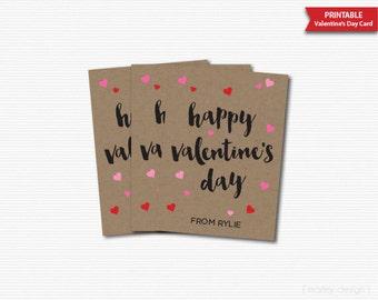 Printable Kraft Valentine's Day Cards Valetines Tags Personalized Rustic Kids Valentines Valentines Gift Tags Valentines Favor Tags Digital
