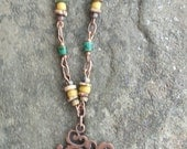 Copper Tree of Life Pendant Necklace with Mustard Indonesia Beads Teal Tube Beads and Teal Tan Brown Greek Spacers and Seed Beads and Toggle
