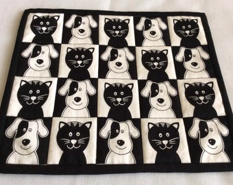 Black Cats & Dogs, Black and White Snack Mats, Animal Large Mug Rugs, Black White Beverage Mats, Novelty Table Mats