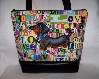 MADE TO ORDER - Appliqued Smooth Hair Black and Tan Dachshund - Wiener Dog - Purse - Handbag - Bag
