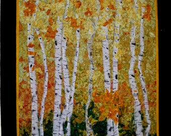 Wall Hanging, Confetti Quilt, Birch Trees, Fall Quilt, Art Quilt, Fabric Art, Shredded Quilt, Ready to Ship