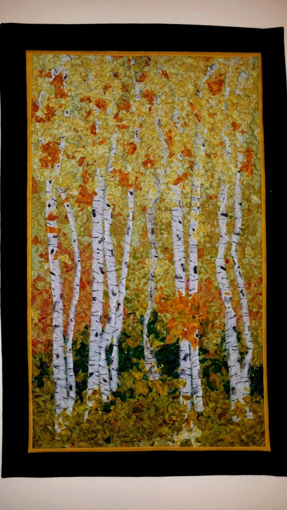 Wall Hanging Confetti Quilt Birch Trees Fall Quilt Art