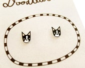 Super Tiny Boston Terrier Shrink Plastic Stud Earrings
